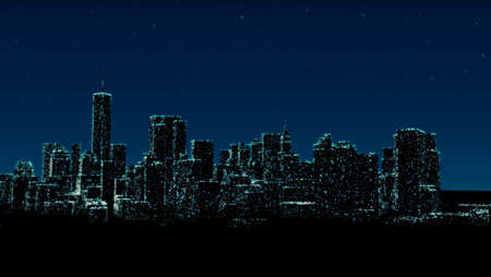 Panoramic night view of Lower Manhattan and financial district. Lights of skyscrapers and starry sky over New York City. 3d render
