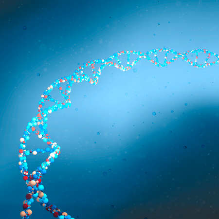DNA helix, Deoxyribonucleic acid is a thread-like chain of nucleotides carrying the genetic instructions used in the growth, development of all known living organisms. 3d render. HUD, head up display