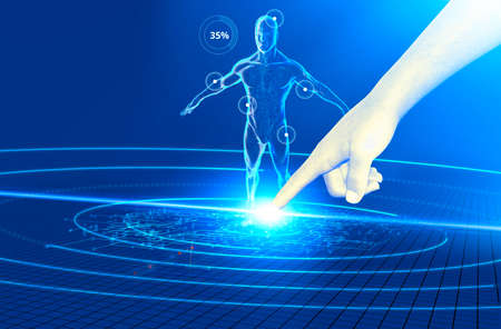 Technologies and digital apps that affect human health. Medicines. 3d render. Human anatomy and control of all vital functions. Finger clicking on a device to monitor a person's physical functions