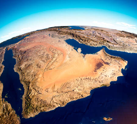 Map of the Arabian Peninsula, Middle East physical map, 3d render, map with relief and mountains. Arabian Sea, Red Sea and Persian Gulf. Yemen, Oman, Saudi Arabia, United Arab Emirates, Iran.