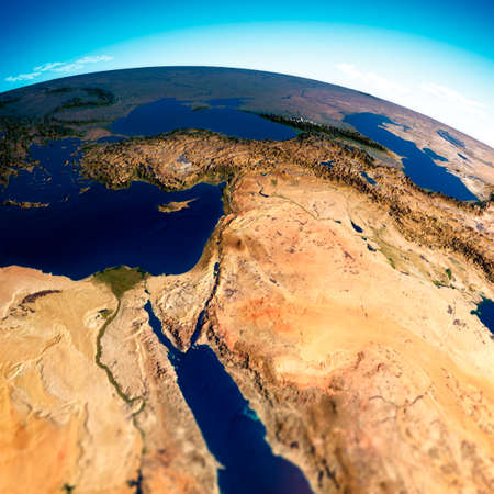 Map of the Arabian Peninsula, Middle East physical map, 3d render, reliefs and mountains. Mediterranean. Israel, Turkey, Syria, Iraq, Jordan, Egypt, Iran, Saudi Arabia. Elements of this image are furn