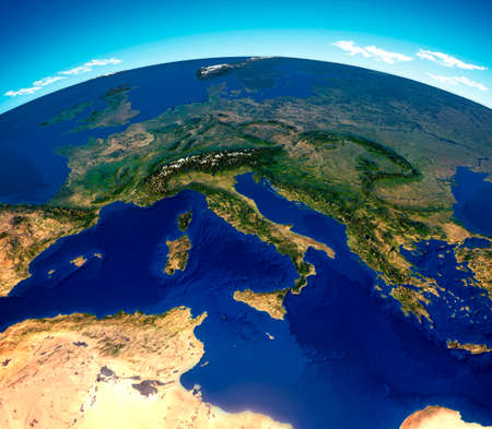 Central Mediterranean map, physical map, South and Central Europe. 3d render, reliefs and mountains. Mediterranean. Italy, France, Spain, Germany, Greece, Tunisia. Immigrant landings. Elements of this