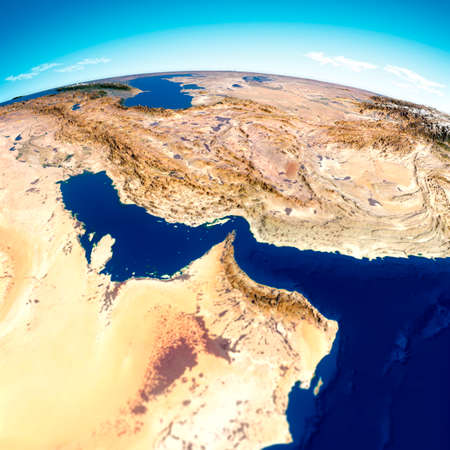 Strait of Hormuz. Map of the Middle East, Persian Gulf and Indian Ocean connecting across the Strait of Hormuz. Satellite view of Iran, United Arab Emirates, Qatar, Bahrain and Oman, 3d render