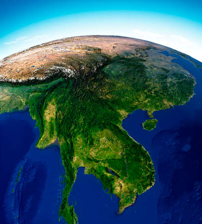 Globe map of Asia, satellite view, geographical map, physics. Cartography, relief atlas. 3d render. Thailand, Laos, Cambodia, China.