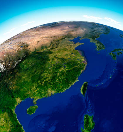 Globe map of Asia, satellite view, geographical map, physics. Cartography, relief atlas. 3d render. China, South Korea, Mongolia, Taiwan.