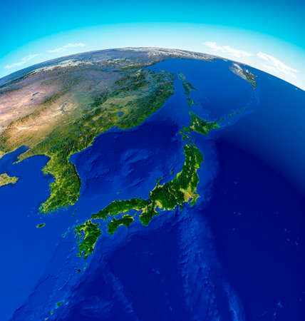 Globe map of Japan, North Korea and South Korea, physical map Asia, East Asia. Map with reliefs and mountains and Pacific Ocean, atlas, cartography. Satellite view. China. 3d render Stok Fotoğraf