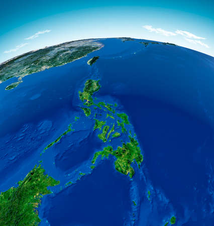 Globe map of the Philippines, physical map Asia, East Asia, map with reliefs and mountains and Pacific Ocean, atlas, cartography. Satellite view. 3d render.