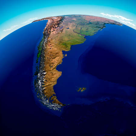 Globe map of South America, geographical map, physics. Cartography, atlas. Map with reliefs and mountains. Argentina, Chile. Satellite view. 3d render. El