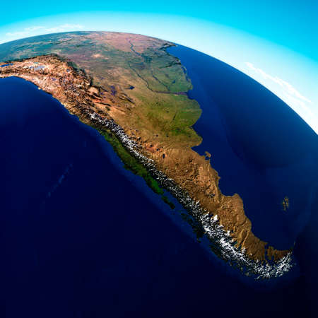 Globe map of South America, geographical map, physics. Cartography, atlas. Map with reliefs and mountains. Argentina, Chile. Satellite view. 3d render.