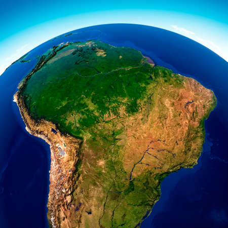Satellite view of the Amazon rainforest, map, states of South America, reliefs and plains, physical map. Forest deforestation. 3d render.