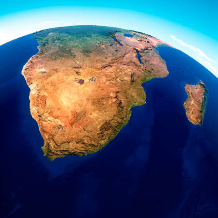 Globe map of South Africa, geographical map, physics. Cartography, atlas. Map with reliefs and mountains. Republic of South Africa. Satellite view. 3d render Stok Fotoğraf
