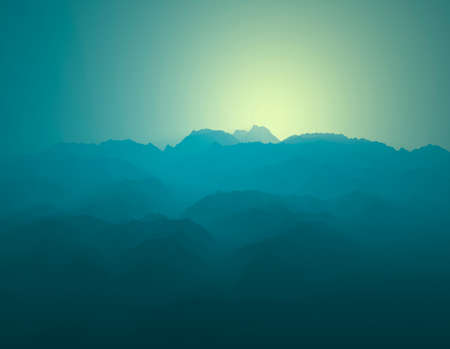 Silhouette of mountains, mountain ranges shrouded in fog. Sunrise in the mountains, first light of day. 3d render. Italian Alps valleys of Como and Lecco. Italy