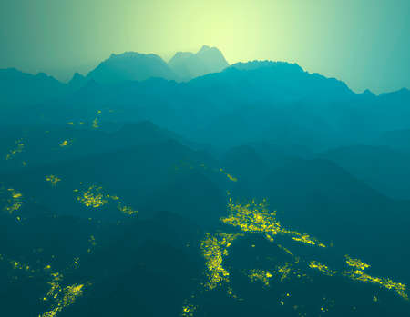 Silhouette of mountains, mountain ranges shrouded in fog. Sunrise in the mountains, first light of day. Buildings lights, night view of Lecco and the surrounding areas, 3d render. Italian Alps valleys
