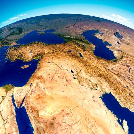 Map of the Arabian Peninsula, Middle East physical map, 3d render, reliefs and mountains. Mediterranean. Israel, Turkey, Syria, Iraq, Jordan, Egypt, Iran, Saudi Arabia. Satellite view Stok Fotoğraf