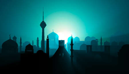 Silhouette of Tehran city. Middle east. Towers and religious monuments, minarets with domes. Sunrise and night view. 3d render. Lights and shadows between the houses of an inhabited center