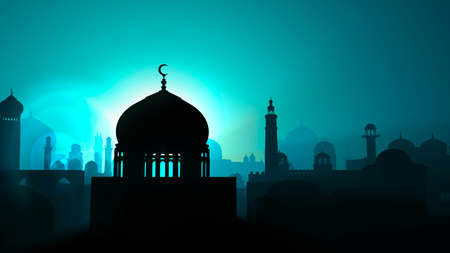 Silhouette of an Islamic Arab city. Middle east. Religious monuments and minarets with domes. Sunrise and night view. 3d render. Lights and shadows between the houses of an inhabited center