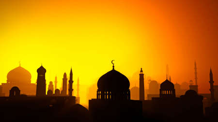 Silhouette of an Islamic Arab city. Middle east. Religious monuments and minarets with domes. Sunset view. 3d render. Lights and shadows between the houses of an inhabited center