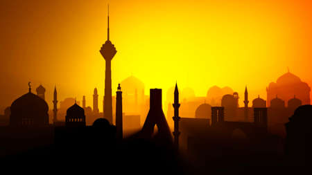Silhouette of Tehran city. Middle east. Towers and religious monuments, minarets with domes. Sunset view. 3d render. Lights and shadows between the houses of an inhabited center