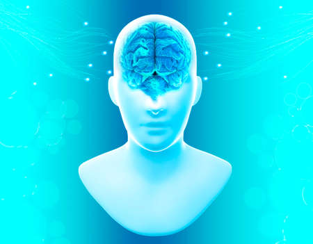 Digital consciousness, brain potential. Ideas and innovation. Free your mind. Synapses and artificial intelligence. Cloud and globalization. 3d render. Human anatomy and brain