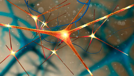 Microscopic view of the synapses. Brain connections. Neurons and synapses. Communication and cerebral stimulus. Neural network circuit, degenerative diseases, Parkinson, Alzheimer. 3d render