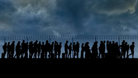 Refugees and immigrants looking for a new life. Column of migrants near the state borders. Fence and barbed wire. Surveillance, supervised. Abandon their lands for a better future. 3d render