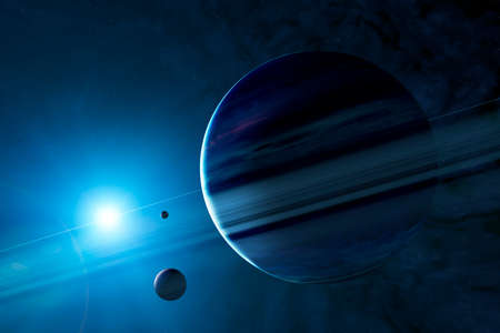 Sci-fi planets, discovery of new worlds, science fiction. Planets and moons of other galaxies and universes. Fantastic worlds. Nebulae and star clusters. 3d render. Saturn rings and moons Foto de archivo