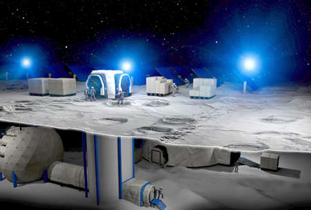 Lunar base, spatial outpost. First settlement on the moon. Space missions. Living modules for the conquest of space in the lunar subsoil. Moon soil. Lunar ark. Lava tube, regolith. Cryo preservation Banco de Imagens