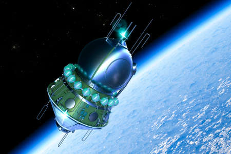 The Vostok spacecraft orbits the Earth.
