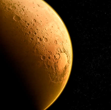 Satellite view of Mars, details and particulars of the Martian surface. Craters valleys and mountains of the red planet. Solar system and planets. 3d render.