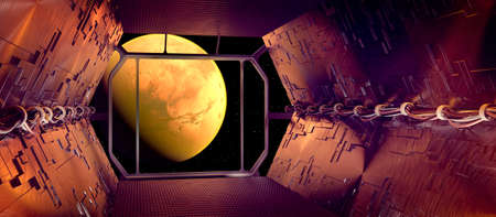View of Mars from a deck of a spaceship. Interstellar travel. Planets to explore. New worlds and galaxies. Sci-fi. Future technology. 3d render Stok Fotoğraf
