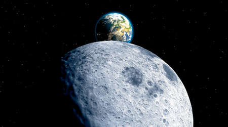 Far side of the Moon and the Earth. Craters and lunar valleys. Lunar outpost and new frontiers. Starting point for interstellar travel. 3d render.