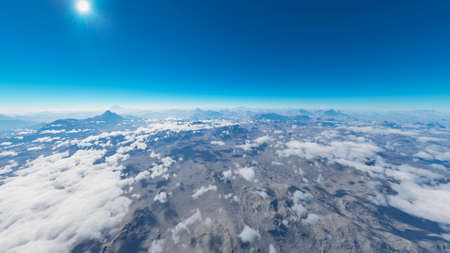 Aerial view of a mountain range in the clouds. Clouds that envelop a panorama of mountains and sun rays that cross them. Satellite view of atmosphere. 3d render