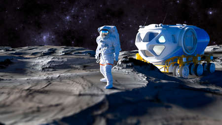 View of the Moon. Craters and lunar valleys. Lunar outpost and new frontiers. Interstellar travel. 3d render. Astronaut. Lunar transport vehicle.