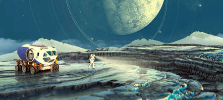 Planets of distant galaxies. Exploration of new worlds, Sci-fi. Conquest of space. Intergalactic travel. 3d render. Astronaut on the lunar surface of an exoplanet. 3d render