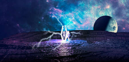 Gravitational tunnel, space-time tunnel. Travel in space time, the deformation of the space-time continuum. Time traveler enters a portal that unites two worlds. Teleportation. Sci-fi. 3d render