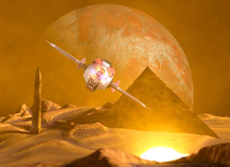 Spaceship traveling between planets of distant galaxies. Exploration of planets. Sci-fi. Conquer new worlds. Technological innovation and intergalactic travel. Wastelands and pyramid. 3d render