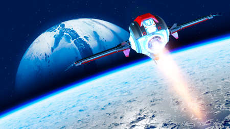 Spaceship traveling between planets of distant galaxies. Exploration of planets. Sci-fi. Conquer new worlds. Technological innovation and intergalactic travel. 3d render Stok Fotoğraf