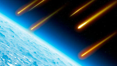 Satellite view of the Earth's atmosphere, meteors and shooting stars. Heavenly body that ignites due to friction. Meteorites. 3d render