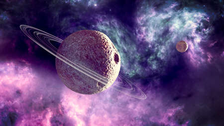 Planets and exoplanets of unexplored galaxies. Sci-Fi. New worlds to discover. Colonization and exploration of nebulae and galaxies. Planet and rings. 3d render Stok Fotoğraf