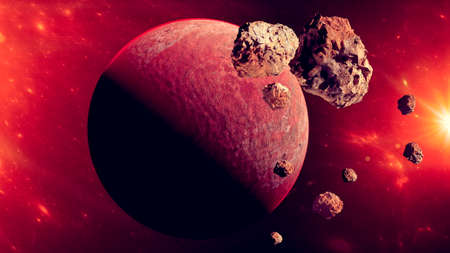 Planet and asteroid. Asteroid rings around a planet. New worlds and galaxies, discoveries of new planets. 3d render