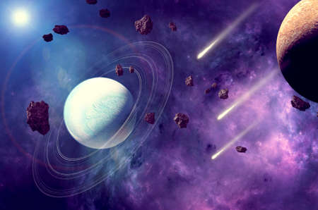 Planets and exoplanets of unexplored galaxies. Sci-Fi. New worlds to discover. Colonization and exploration of nebulae and galaxies. Planet and rings. Asteroids. 3d render