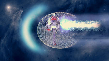 Speed of light, magnetic field enveloping a spaceship. Space travel and new frontiers. Cutting-edge technology. Space-time deformation, quantum tunnel. Sci-fi. 3d render