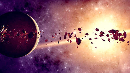 Rings and asteroids, Kuiper belt. Debris. Space and solar system. Rings around a planet. Worlds and universes to explore. New spatial observations and new discoveries. 3d render. Asteroids field aroun Stok Fotoğraf