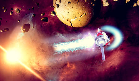 Spaceship traveling between exoplanets of other galaxies, asteroids and meteorites around a planet. Nebulae and stars in space. Conquest and discovery of new worlds, technology. Sci-fi. 3d render Stok Fotoğraf