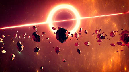 Supermassive black hole, it is a class of astronomical objects that have undergone gravitational collapse. Event horizon. Asteroid and debris in the space. Asteroid rings around a planet. 3d render