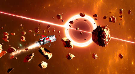 Supermassive black hole, asteroid and debris in the space. Spaceship traveling between exoplanets of other galaxies. Sci-fi. 3d render