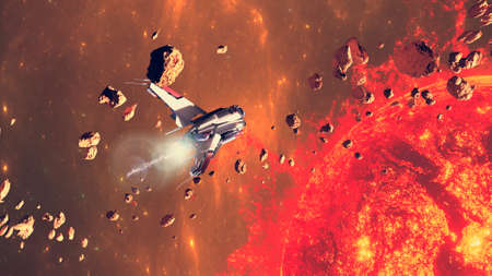 Spaceship traveling between exoplanets of other galaxies. Asteroid and debris in the space. Asteroid rings around a planet. Big star in the background. 3d render Stok Fotoğraf