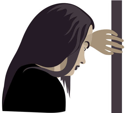 Domestic violence, girl in the corner, woman depression, abuse, beat, girl, child, violence against women Çizim