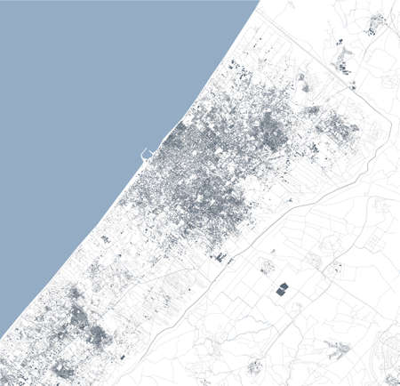 Satellite view of the Gaza Strip North side. Streets housing and borders of the Palestinian territories with Israel. Political map. Gaza city. Vector layers Çizim