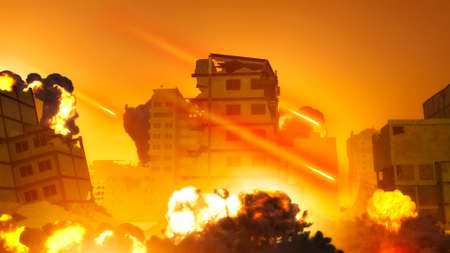 Israeli air raid on the Gaza Strip, Palestine. Gaza city. Combat aircraft bombing sensitive targets within the Gaza Strip. Explosions caused by missiles of buildings and homes. 3d render